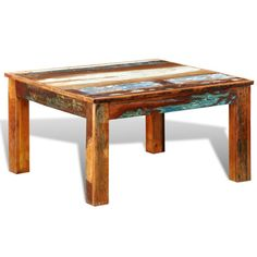 Square Reclaimed Wood Coffee Table in Vintage Style | Buy Coffee Tables