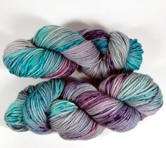 Hand Dyed Yarn Worsted, Turquoise, Aqua and Purple Speckled, Gray, Variegated, Superwash Merino Wool, So Dreamy, DYED TO ORDER