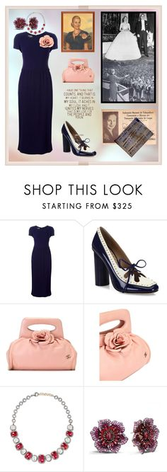 """The First Lady Of Argentina. María Eva Duarte de Perón"" by m-kints ❤ liked on Polyvore featuring Chanel, Tory Burch, Amrapali and Effy Jewelry"