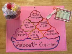 Sabbath Day Sundaes Relief Society LDS handout Offer Up Thy Sacraments upon My Holy Day Sabbath Activities, Activities For Kids, Object Lessons, Bible Lessons, 4th Commandment, Sabbath Day Holy, Sunday School Crafts For Kids, Relief Society Lessons, Christian Love