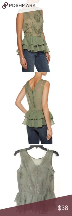 """Walter Baker Gabby Top Walter Baker Gabby Embroidered Chiffon Top.  Measures 25"""" length, 36"""" bust, 33"""" waist.  Fits true to size with a slightly loose fit, lightweight non-stretchy fabric, army green, ruffled layer hem, back zip closure.  100% Polyester.  Hand wash or dry clean.  No trades. Walter Baker Tops Blouses"""