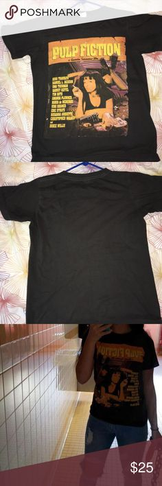 """Pulp fiction graphic t shirt A vintage style pulp fiction graphic t shirt size small but will fit a medium (like me) as well the shirt is in 10/10 condition the print on the shirt is how it came and part of the """"vintage"""" effect Tops"""
