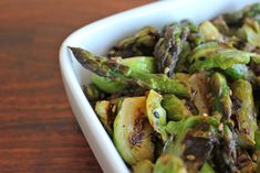 {recipe} Charred Asparagus and Brussels Sprouts with Sesame Miso Butter - off the (meat)hook— off the (meat)hook