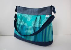 Large Pleated Cross Body bag in Turquoise and Navy by bluecalla Cotton Linen, Cotton Canvas, Next Bags, Top Band, Circular Pattern, Green Cotton, Different Fabrics, Arrow Keys, Navy Stripes