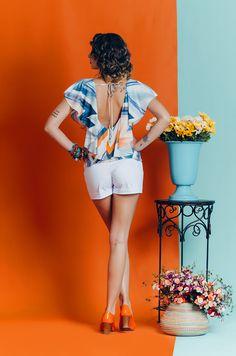 """Short de alfaiataria e blusa de babado. Coleção """"Bella Vida"""" Primavera Verão 2017 - Look Belle"""