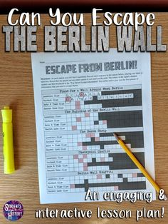 Awesome lesson plan for high school classrooms learning about the Berlin Wall in US or World History! This Escape Room style lesson allows your students to engage in a fun and interactive lesson activity! lessons Berlin Wall Escape Lesson and Readings