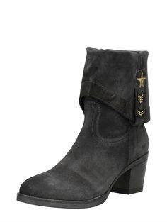 Choizz suede laarzen met hak, kan gedragen worden als enkellaars maar ook als kuitlaars - grijs