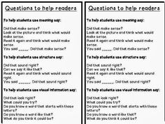 support readers during Guided Reading and Individual Conferences ~ It lists some important questions to ask when kids make errors in their reading. It helps students work on those cues that you analyze when doing a Running Record: Meaning, Structure and Visual Information.