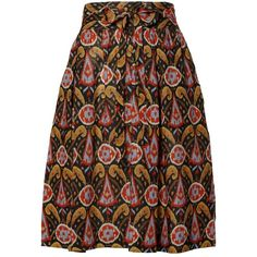 Preowned Yves Saint Laurent Ysl Rive Gauche Vintage Wool Ikat Print... ($450) ❤ liked on Polyvore featuring skirts, multiple, wool skirt, tie skirt, vintage skirts, brown skirt and vintage wool skirt