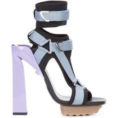 Versace t-bar platform sandals ($1,280) ❤ liked on Polyvore featuring shoes, sandals, black, black t strap sandals, open toe sandals, black sandals, chunky platform sandals and ankle wrap sandals