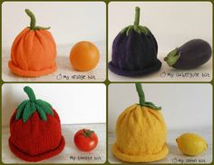Baby hats made of virgin wool knitted vegetables by Melimebabybeeshop, $17.00
