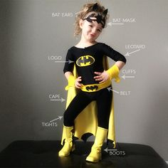 diy batman and batgirl costume - Makayla halloween Costume Halloween, Costume Batgirl, Batgirl Party, Diy Superhero Costume, Costume Carnaval, Superhero Party, Halloween Fun, Batman Party Costume, Batman Costume For Girls