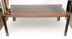 Exotic Wood Inlay & Chrome Grand Desk/Table: gorgeous as a desk!