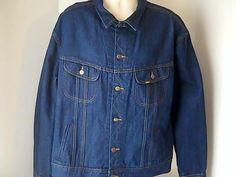 LEE Vintage Mens 54 Long Denim Jean Jacket Coat 100% Cotton USA Union Made #LEE #JeanJacket