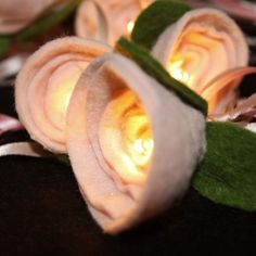Pale Pink Felt Rose Fairy Lights #pink #roses #lights #international #delivery available £15 make a great feature in a #room #bedroom