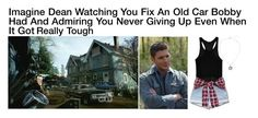"""Imagine Dean Watching You Fix An Old Car Bobby Had And Admiring You Never Giving Up Even When It Got Really Tough"" by alyssaclair-winchester ❤ liked on Polyvore featuring Go Green M by M, imagine, supernatural and DeanWinchester"