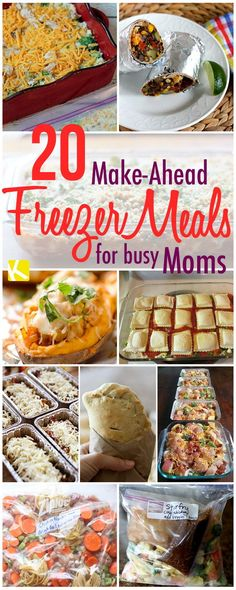 20 Make-Ahead Freezer Dinners for Busy Moms- some meals not clean eats, but can be tweaked