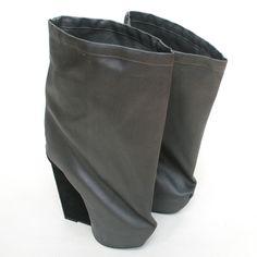 GARETH PUGH high wedge heel fabric covered bag shoes slouch sack boots 11/41 #GarethPugh #FashionAnkle