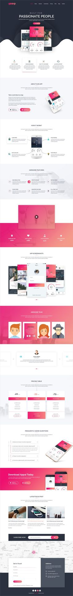 APPAI is a powerful #PSD template for #App Landing page #websites with 3 homepage layouts and 10 organized PSD pages download now➩ https://themeforest.net/item/appai-responsive-app-landing-psd-template/19357963?ref=Datasata