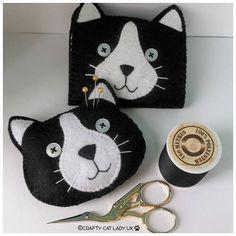 black cat face pin cushion novelty pin cushion cat themed