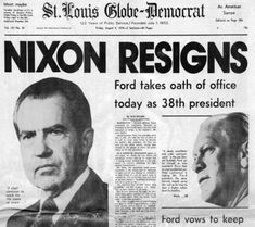 of Historic Newspapers President Nixon resigns from office August He faced impeachment due to the Watergate scandal.President Nixon resigns from office August He faced impeachment due to the Watergate scandal. Newspaper Front Pages, Vintage Newspaper, History Facts, World History, American Presidents, American History, Newspaper Headlines, Drame, Interesting History