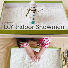 "Fun idea for indoor ""snow"". DIY indoor snowman, sensory activity from Modern Parents, Messy Kids Sensory Activities, Craft Activities For Kids, Winter Activities, Sensory Play, Projects For Kids, Sensory Table, Christmas Toddler Activities, Preschool Winter, Winter Crafts For Kids"