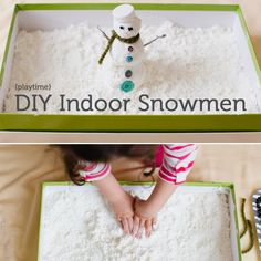 diy indoor snowman with cornstarch and shaving cream. fun!