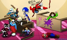 Draw the Squad (My Closest Internet Friends by CAcartoon on DeviantArt Flowey Undertale, Undertale Comic Funny, Undertale Memes, Undertale Fanart, Fandom Crossover, Anime Crossover, Video Games Funny, Funny Games, Fighting Drawing