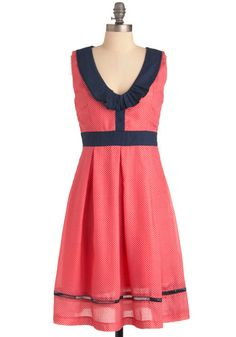 Collared scoop neck dress. May the curvy among us UNITE!!! For those of us who's personalities just don't fit into a size ridiculous, ModCloth has you covered. Throw caution to the wind in this spotted number with a swanky collar. Its A-line shape and band around the waist will draw the eye to the narrowest part so you can show off your gorgeous curves and let your personality shine!