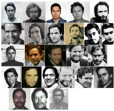 """The ever-changing appearance of Ted Bundy. Ann Rule, true crime author and former friend of the killer, described him as a """"chameleon"""" because he was notorious for changing his appearance at a. Famous Serial Killers, Ted Bundy, Criminology, Criminal Minds, True Crime, Mug Shots, Old Photos, Scary, Mystery"""