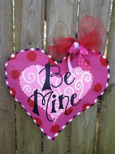 Valentine's Day Heart Burlap Door Hanger by BrentonBurlaps on Etsy