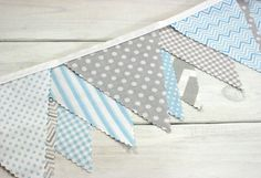 Bunting Fabric Banner, Fabric Flags, Boy Nursery Decor, Birthday Decoration    - Blue and Gray Chevron, Dots, Gingham - Ready to Ship