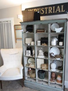 Reclaimed charm at twin elm farm NH. Love the industrial theme. Visual merchandising. VM. Antique / Vintage store display.