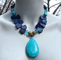 Chunky Statement Necklace, Turquoise Pendant, Lapis Slabs, Big Bold Bib, Blue Stone 734