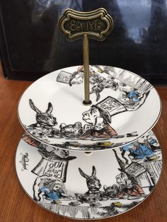 Alice+in+Wonderland+2+Tier+Cake+Stand+by+HAMPER123+on+Etsy