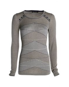 Scalloped Striped Top. Black & White and form fitting.  Notice the buttons on the sides of the collar.  #colortheory