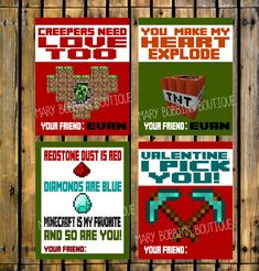 Printable DIY Minecraft Valentine's Cards by MaryBobbinsBoutique Valentines For Boys, Valentine Treats, Valentine Day Crafts, Happy Valentines Day, Fun Crafts, Crafts For Kids, Bookmarks Kids, That Way, Minecraft Stuff