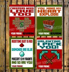 Printable DIY Minecraft Valentine's Cards by MaryBobbinsBoutique, $5.00