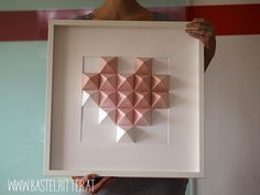 BastelRitter: Paperart – Paper Art Source by bastelhexetanja Origami Wall Art, Paper Crafts Origami, Diy Paper, Oragami, Quiling Paper, Paper Quilling, Heart Wall Art, 3d Wall Art, Gift Wrapping Tutorial