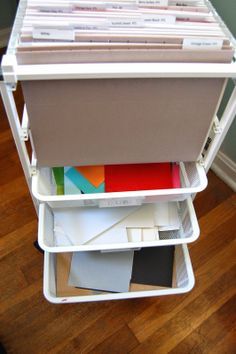 See how One Charmed Life keeps her paper scraps organized with our elfa Mesh FIle Cart! | One Charmed LIfe