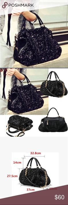 Black Sequined Purse You can never have too many purses and this Purse is sensible and stylish, it can fit all of your things and look awesome doing it! Bags Shoulder Bags