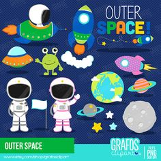 OUTER SPACE  Digital Clipart Set Space Clipart by GRAFOSclipart