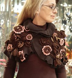 Interesting crochet shawl with flowers