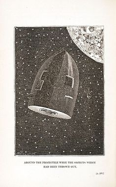 Cover and illustrations from the 1874 English translation of De la terre à la lune (From the Earth to the Moon Direct in Ninety-seven Hours and Twenty Minutes, and a Trip around it.