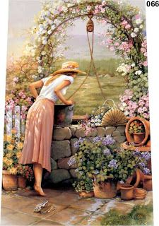 Wishing Well Cross Stitch Pattern to print online. Decoupage Paper, Wishing Well, Pictures To Paint, Beautiful Paintings, Belle Photo, Garden Art, Painting & Drawing, Watercolor Art, Parks