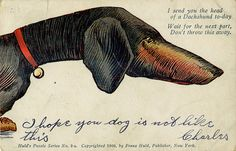 Dachshund, Postcard 2-a, Huld's Puzzle Series Postcard