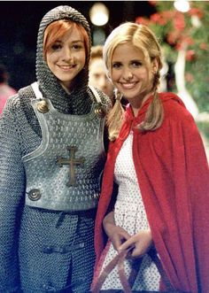 """Cute pic of Alyson Hannigan """"Willow"""" as Joan of Arc and Sarah Michelle Gellar """"Buffy"""" as Little Red Riding Hood."""