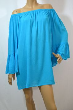 Gina Indian Tropical Ruffle Off Shoulder Top-OS-Turquoise