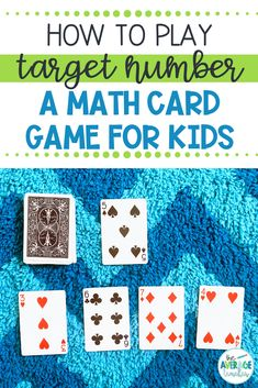 Math games 32932641013410080 - How to play this easy math game using playing cards – easy math card games for kids! Source by theaverageteacher Easy Math Games, Educational Math Games, Math Card Games, Family Card Games, Card Games For Kids, Learning Games For Kids, Playing Card Games, Math For Kids, Math Activities