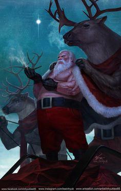 2016 happy holidays by inhyuk lee Digital Art Masters Volume 2 Character Concept, Character Art, Concept Art, Character Design, Naughty Santa, Bad Santa, Merry Christmas, Dark Christmas, Xmas